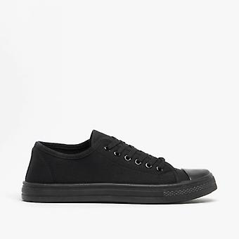 Shumo Baltimore Mens Canvas Lace Up Casual Trainers All Black