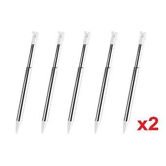 10 3DS White Silver Stylus Metal Retractable Touch Pen Nintendo