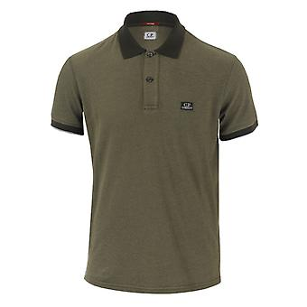 Men's C.P. Company Garment Dyed Polo Shirt in Green