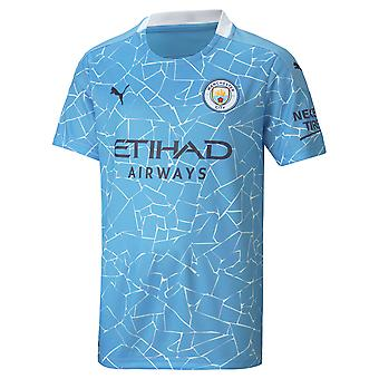 Puma Manchester City 2020/21 Kids Short Sleeve Home Football Shirt Blue