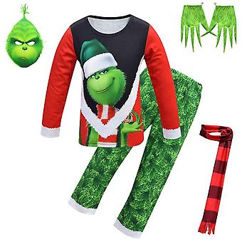 Christmas Grinch Pajamas Mask,Scarf, Pointed Gloves