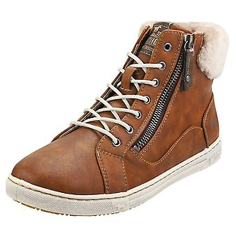 Mustang High Top Side Zip Sneaker Womens Fashion Trainers in Chestnut