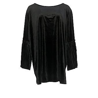 Du Jour Women's Plus Top Plissée Bell Sleeve Knit Velvet Black A300230