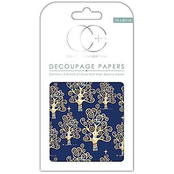 Craft Consortium Blue Trees Decoupage Papers