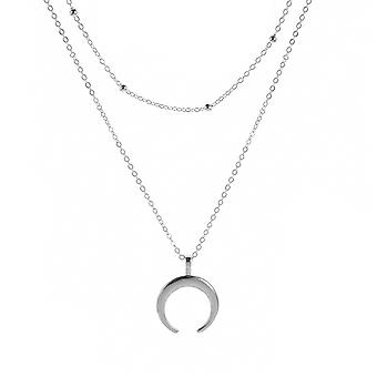 Silver Multilayered Crescent Moon Pendant Necklace