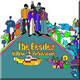 The Beatles Køleskab Magnet Gul Submarine Band Logo Officielle Metal 75mm x 75mm