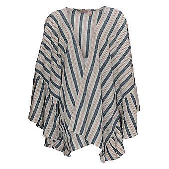 Laurie Felt Women's Top Plus 2X/3X Flutter Sleeve Open Kimono Ivory A367329