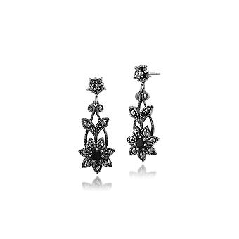 Art Nouveau Style Black Spinel & Marcasite Floral Drop Earrings in 925 Sterling Silver 214E656902925