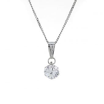 Eternity 9ct White Gold 5mm Round Cubic Zirconia Pendant And 18-apos;apos; Curb Chain