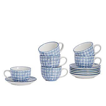 Nicola Spring 12 Piece Hand-Printed Cappuccino Cup and Saucer Set - Japanese Style Porcelain Coffee Teacups - Navy - 250ml