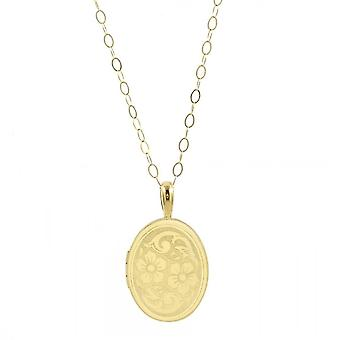 Eternity 9ct Gold 20mm Large Oval Floral Locket And 16'apos; Chain