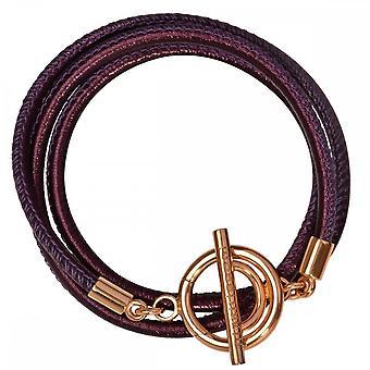 Nikki Lissoni beige lederen koord goud vergulde wrap armband