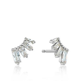 Ania Haie Sterling Silver Rhodium Plated Glow Bar Stud Earrings E018-04H