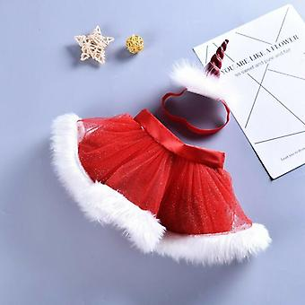 Xmas Jupes Infant Christmas Red Tutu Party Licorne Baby Headband Chiffre Photo