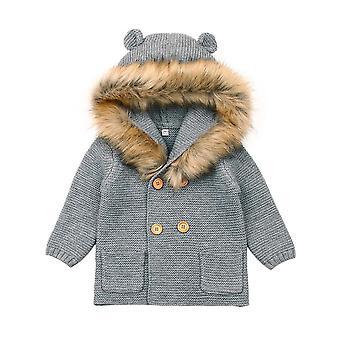 0-24m Winter Baby Boys / Flickor, Jackor Outfits, Varm, Fur Hooded Tröjor