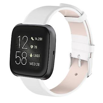 For Fitbit Versa 2/Versa/Versa Lite Leather Band Replacement Wristband Strap[White]