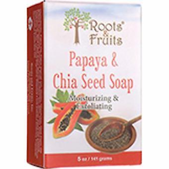 Bio Nutrition Inc Roots & Fruits Bar Soap, Papaya & Chia Seed 5 Oz