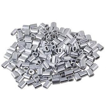 Oval Aluminum Clamp Clip Sleeves for 1mm Wire Rope Set of 200