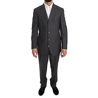 Z ZEGNA Gray Striped Two Piece 3 Button Wool Comfort Suit