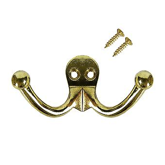 Ashley double robe hook/hanger with fittings for clothes, hat or coat brass plated large