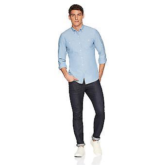 Goodthreads Men's Slim-Fit Long-Sleeve Chambray Shirt, Blue, Large