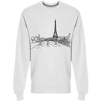 Eiffel Tower Lamdscape Sketch Collegepaita Men's -Kuva: Shutterstock
