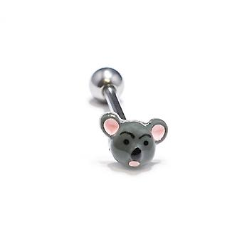 Custom made mouse design, tongue 14ga piercing barbell
