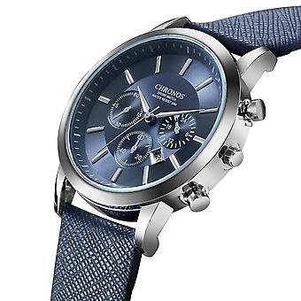 CHRONOS Casual Style Calendar Men Wrist Watch FALSE Small Dials Leather Strap