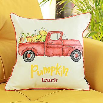 Fall Season-thanks Giving Red Pumpkin Truck Pillow Cover
