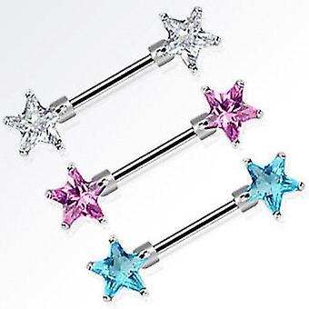 Anillo de pezón barbell 14 calibre gema de doble estrella - se vende en pares