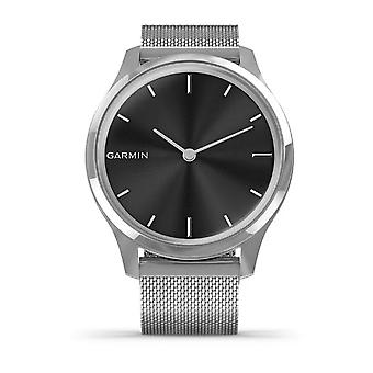 Garmin 010-02241-03 Vivomove Smartwatch Luxe Zilver Roestvrij stalen kast met zilveren Milanese bandhorloge