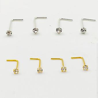 Sterling  L Shape Nose Stud Ring, Clear Crystal Piercing Body Jewelry