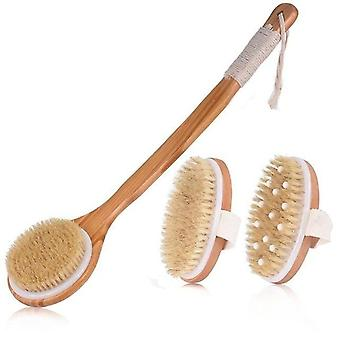 Cura della pelle donna / uomo - Pennello da bagno setole naturale, corpo in legno esfoliante