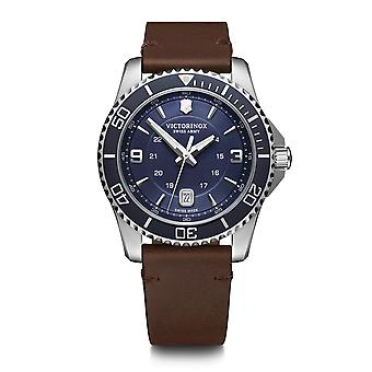 Victorinox Swiss Army 241863 Maverick blauw & bruinleren mannen ' s horloge