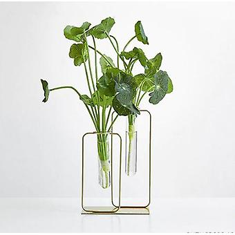 Nordic Glass Vase Metal Stand With Artificial Flower Decoration
