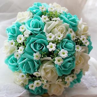 Royal Blue Beautiful Foam Roses, Artificial Flower Bride Bouquet, Party Decor