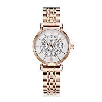 Rose Gold Stainless Steel Bracelet Watch Women Fashion Quartz Hip Hop Diamonds