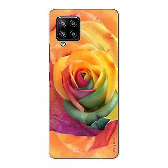 Scafo per Samsung Galaxy A42 5g Silicone Morbido 1 mm, Fiore rosa colorato