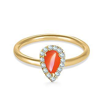 Anel pera corte coral 18K ouro e diamantes
