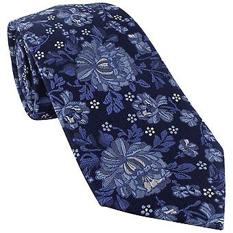 Michelsons of London Detailed Floral Silk Tie - Blue