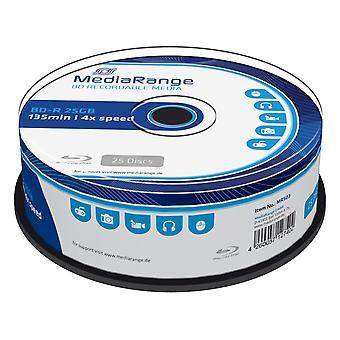 Mediarange bd-r 25 gb zapisovatelný blu-ray (bd-r) – balení po 25 kusech