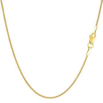 14 k gul guld runde hvede kæde halskæde, 1,15 mm