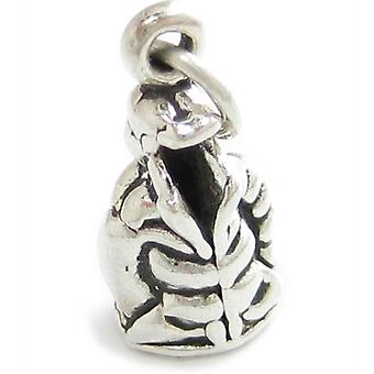 Ski Jacket Sterling Silver Charm .925 X 1 Coat Parker Skiing Clothes - 2323