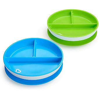 Munchkin stay put suction plate 2 pack blue and green