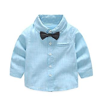 Summer Baby Shirt, Formal Cotton Bow Tie Blouse, Striped Long Sleeve Casual Top