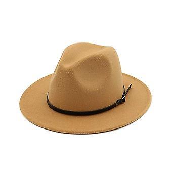 Vintage Kiinteä Väri Huopa Leveä Brim Bowler Fedora Hattu