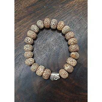 Lotus Seed Bracelet With Gold Buddha - Stretch Elastic