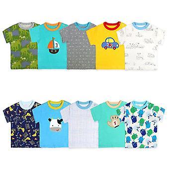 2 Pcs/lot Baby Tops Cotton Short Sleeve Summer Cartoon Print T-shirt