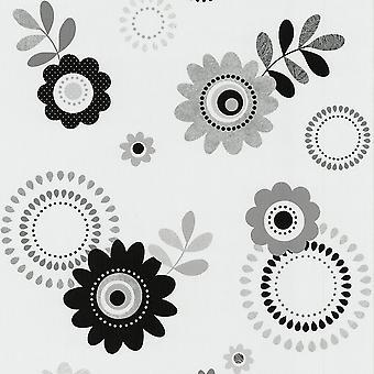 P&S International P&S Flower Pattern Retro Hippy Flowers Motif Embossed Vinyl Wallpaper 05560-40