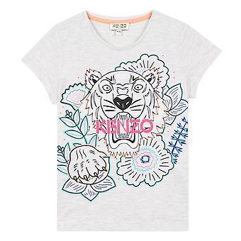 Kenzo tytöt tiikeri logo harmaa t-paita kq10208